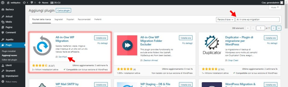 all in one wp migration plugin wordpress